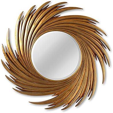 装飾鏡、ヨーロッパの幾何学的な太陽の壁の鏡、壁の鏡の壁画、リビングルーム、寝室、浴室に適しています、黄金