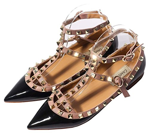 CAMSSOO Womens Metal Studs Strappy Buckle Pointy Toe Flats Comfortable Dress Pumps Shoes