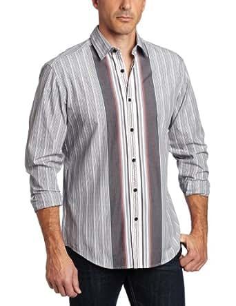 Cubavera Men's Long Sleeve Yarn Died Cotton Engineered Stripe Woven, Jet Black, XX-Large