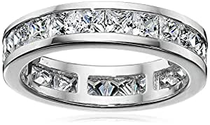 Platinum Plated Sterling Silver Cubic Zirconia Princess-Cut All-Around Ring, Size 6