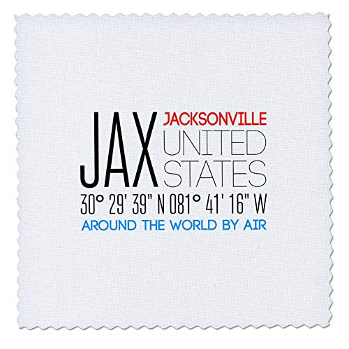 - 3dRose Alexis Design - Around The World By Air - Beautiful text JAX, Jacksonville, United States, location coordinates - 20x20 inch quilt square (qs_311090_8)