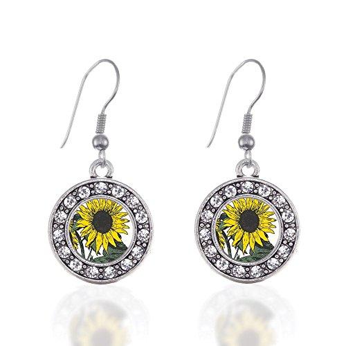 Sunflower Circle Charm Earrings French Hook Clear Crystal Rhinestones