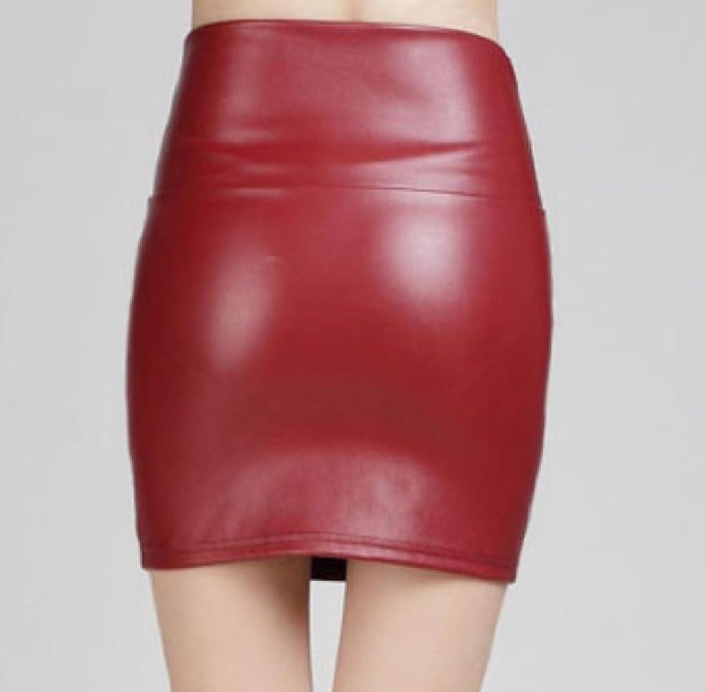 Andopa Classic PU Highwaist cuero de color puro falda del lápiz ...