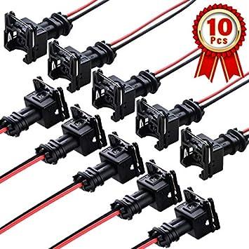 amazon.com: injector conversion harness,fuel injector connector ev1 obd1  plug wire harness pigtail wiring loom clip cut & splice 2-wire female -  10pcs: automotive  amazon.com