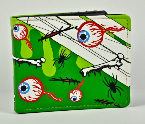 New Eyeball Eye Ball Bifold Money Wallet Spider Green Goo Bones Creepy Scary
