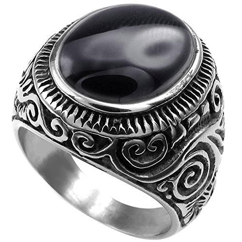 XAHH Men's Classic Vintage Oval Agate Biker Stainless Steel Ring Band Silver Black 13