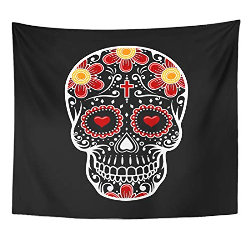 Emvency Tapestry Red Celebration Colorful Bone Skull Sugar Flower Tattoo Pink Calavera Cross Home Decor Wall Hanging for Living Room Bedroom Dorm 50x60 Inches ()