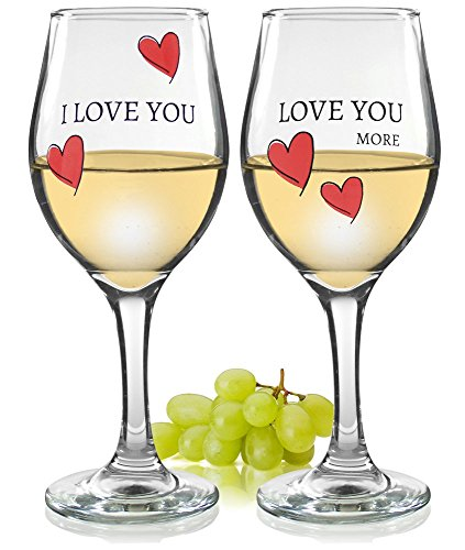 Love You More - I Love You, Love You More Wine Glasses - Set of 2 Romantic Wine Glasses - Hearts and Love Saying - Standard Clear 14oz - Glasses I With How Look Would