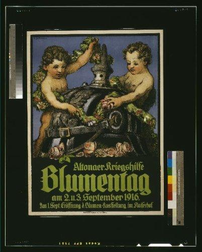 Photo: Altonaer Kriegshilfe Blumentag, Cherubs, World War I, WWI, German Helmet, 1916 . Size: 8x10 (]()