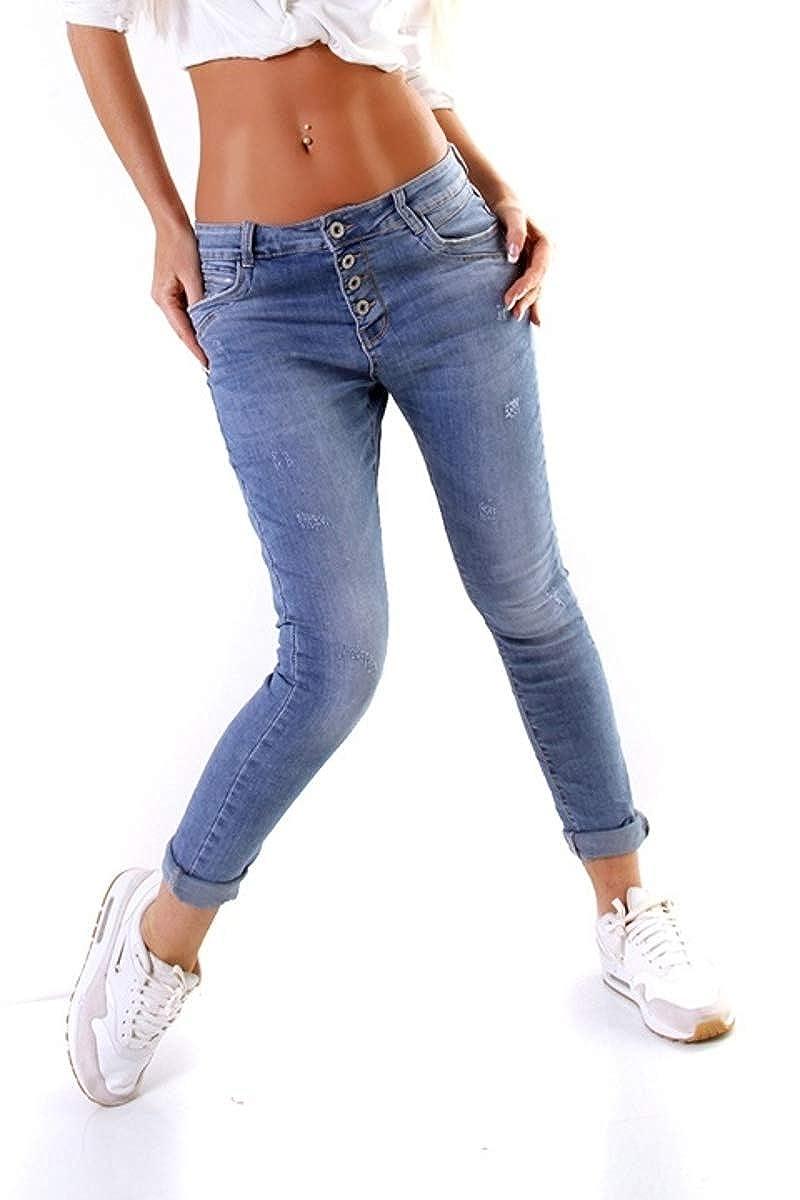 5921 Lange Damen Jeans Hose Damenjeans Röhrenjeans Blau