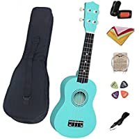 "21"" Ukulele Basswood Body and Basswood Fingerboard 4 Nylon Strings Musical Instrument for Beginners with a Bag, Tuner, Pick, String, Wiper, Strap (Green)"