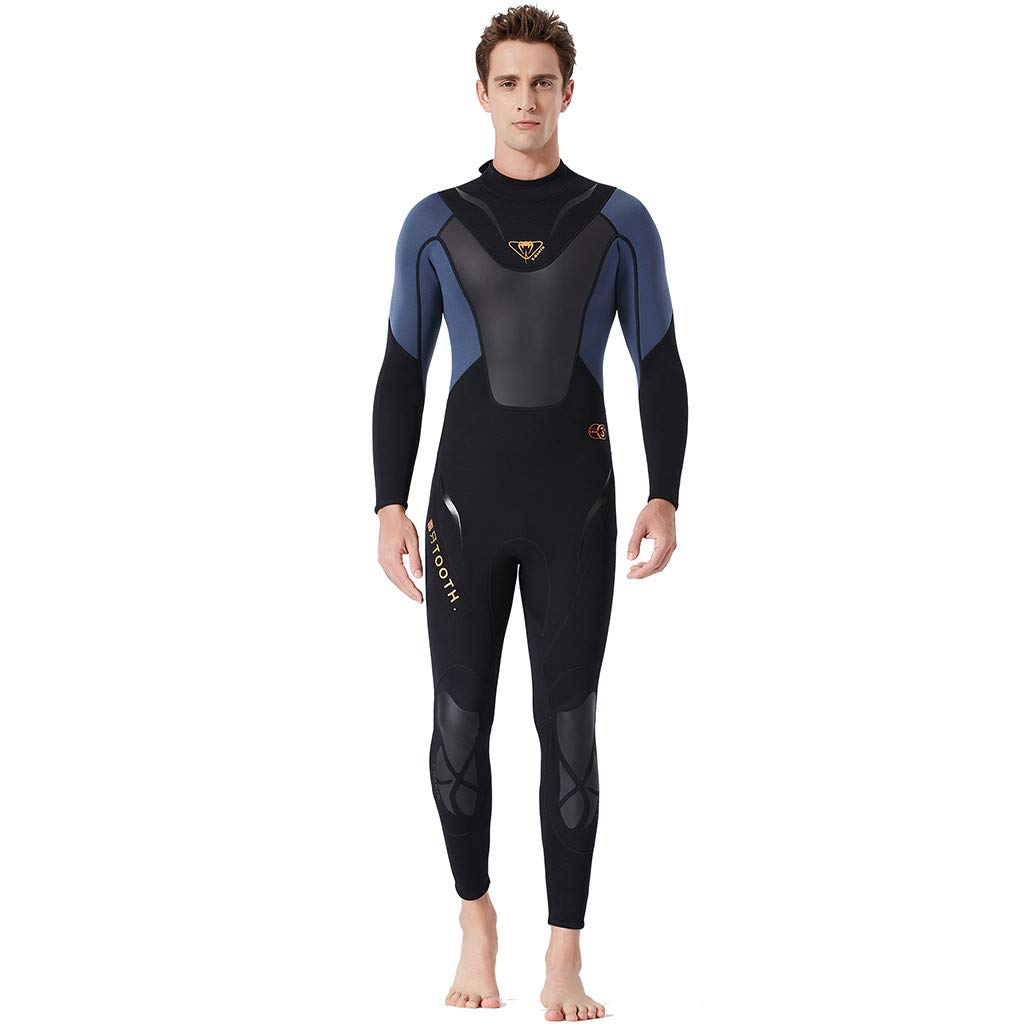 Fashion Clothing Men Full Body Surfing Swimsuit Wetsuit Snorkeling Coverall Long Sleeve Rashguard Quick Dry Sun Protective (XL, Gray) by HUAMIN