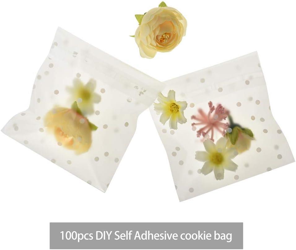 10 * 10cm 100 Pcs DIY Auto-Adh/ésif Sacs Transparent Blanc Polka Dot Sacs Party Favor Traiter Cadeau Sacs Pour Boulangerie Cookies Bonbons Dessert