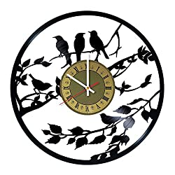 Bird Vinyl Record Wall Clock - gift idea for girls women friends girlfriend and teens - home & office bedroom wall decor - customize your clock
