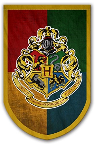 Harry Potter Style Banner - Hogwarts Flag 37x24 in - Printed on Both Sides - Durable Enough for Outside Conditions - Perfect Barware Man Cave Gift - Unique HP Collectible Accessories ()