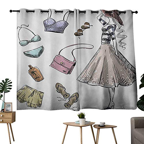 NUOMANAN Customized Curtains Heels and Dresses,Collection of Summer Fashion Clothing and Accessories with Young Woman,Multicolor,Tie Up Window Drapes Living Room 42