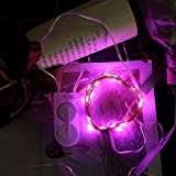 Nufelans_String Light Button Cell Battery Powered Home Decoration Fairy Lamp for Home Wedding Party Indoor Decor 1M 10LED (Pink)