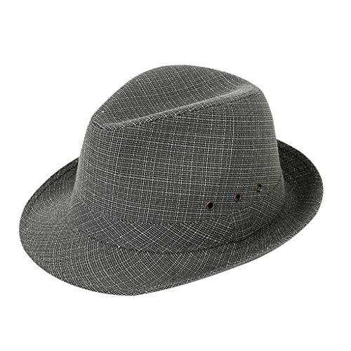 Dressin Straw Fedora Panama Sun Summer Beach Hat Cuban Trilby Men Women Gangster Cap Beach Hat Band Sunhat Gray