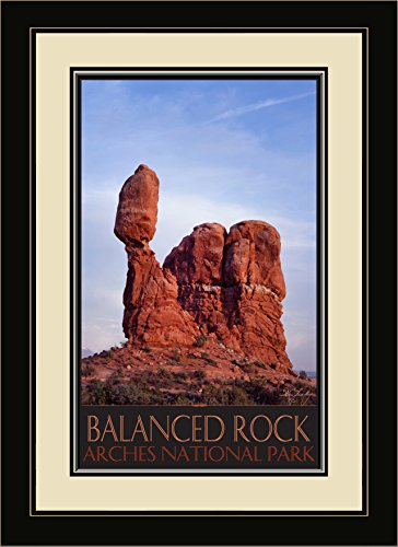 Northwest Art Mall IL-4743 MFGDM Balanced Rock Arches National Park Framed Wall Art by Artist IKE Leahy, 13 x 16 Balanced Rock Arches National Park