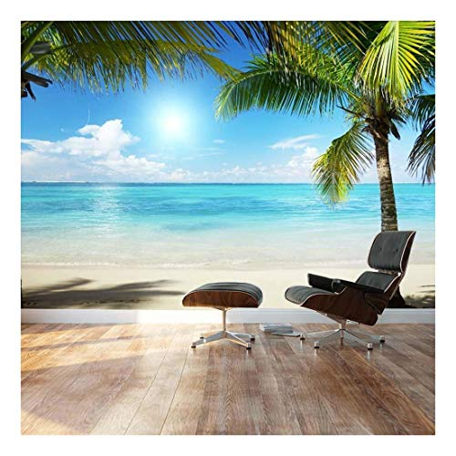 Tropical Blue Waters Framed by Palms Landscape Wall Mural