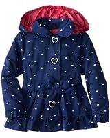 Pink Platinum Little Girls' Hearts Trench Rain Jacket