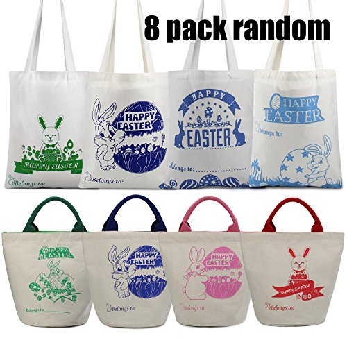 Hot sale Easter Gift Bag Easter Presents For Kids From Easter Bunny Basket Personalized Easter Eggs Baskets&Bags for Kids for Daily Use with Easter Design Mady By Environmental Canvas-8 Pack (Hot Gift Basket)