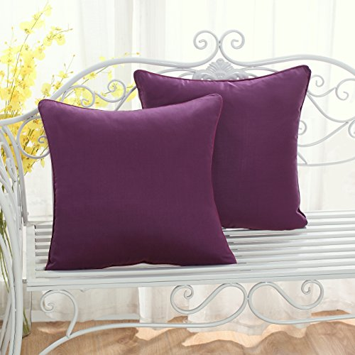 Set of 2 Solid Decorative Throw Pillow Covers Cases for Sofa Couch Bed,100 Percents Cotton Square Pillow Covers Euro Shams Cozy Soft Cushion Covers 18x18 Inch,Best for Home Décor (Eggplant) by Sunday Praise (Image #1)