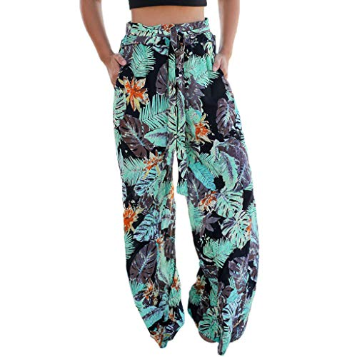 Sunyastor Women's Palazzo Pajama Pants Summer Pockets Leaves