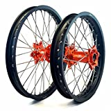 MojoMotoSport - KTM Complete Front/Rear Wheel Set 1.6 x 21 / 2.15 x 19 Black Rim/Silver Spoke/Orange Hub | MOJO-KTM-WS-ORG-2119