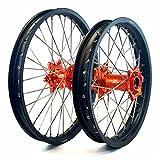 MojoMotoSport - KTM Complete Front/Rear Wheel Set 1.6 x 21 / 2.15 x 18 Black Rim/Silver Spoke/Orange Hub | MOJO-KTM-WS-ORG-2118