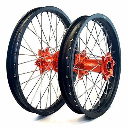 MojoMotoSport - KTM Complete Front/Rear Wheel Set 1.6 x 21 / 2.15 x 18 Black Rim/Silver Spoke/Orange Hub | MOJO-KTM-WS-ORG-2118 by MojoMotoSport