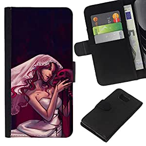 All Phone Most Case / Oferta Especial Cáscara Funda de cuero Monedero Cubierta de proteccion Caso / Wallet Case for Samsung ALPHA G850 // Design Goth Skull Bride