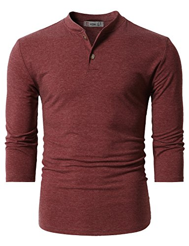 H2H Mens Stylish Tops Slim Fit Casual Fashion T-Shirts Polo Shirt Long Sleeve Tee DARKMAROON US M/Asia L (CMTTS0205) by H2H (Image #2)