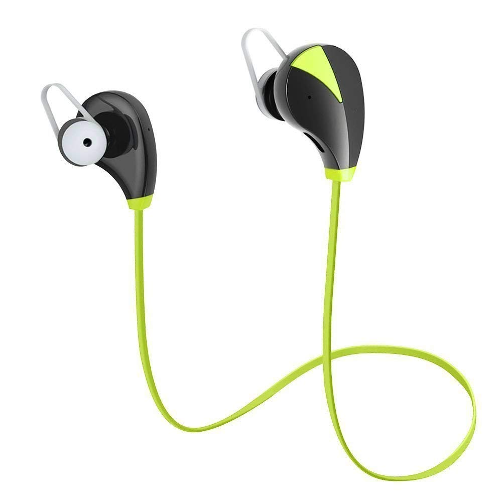 Wireless Earbuds, JUNWER Bluetooth Headphones in-Ear Sports Headsets Sweatproof Earphones Noise Cancelling Headsets with Mic for Running Jogging Black Green