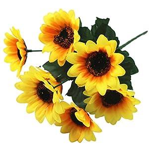 Barlingrock Artificial Flowers, 4pcs Fake 7 Heads Sunflowers Silk Flowers Home Table Decor Wedding Bouquets Centerpieces Arrangements Party Indoor Decorations 115
