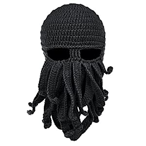 Vbiger Beard Hat Beanie Hat Knit Hat Winter Warm Octopus Hat Windproof Funny for Men & Women Black One Size