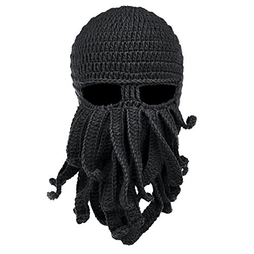 Vbiger Beard Hat Beanie Hat Knit Hat Winter Warm Octopus Hat Windproof Funny for Men & Women Black One Size -
