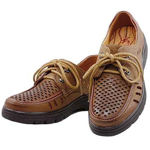 Hombres Parte De Transpirables con del Los De La Cuero Cordones Marrón Plana Puntas Verano De Hombres Yellow Zapatos Casuales Inferior Los De wCpgqWnRvO