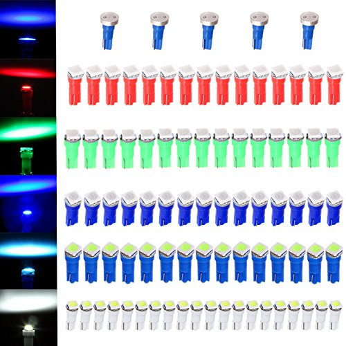 cciyu 80 Pack T5 58 70 73 74 Dashboard Gauge 5050SMD LED Wedge Lamp Bulb Light 5 Colors + 5 Pack Blue High Power T5 37 70 73 74 Instrument Panel Cluster Dash LED Bulbs Light Lamp - 96 Ford F350 Corner Light