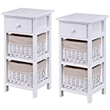 Giantex Set Of 2 Wooden Bedside Table Nightstand Chest Cabinet Bedroom Furniture Drawer Baskets