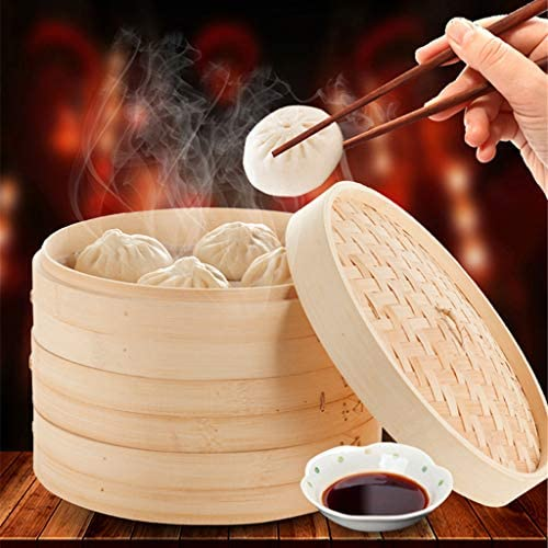 51mAQLVYeEL. AC LOVIVER 2 Pack of Food Steamer with Lid, 7-Inch, Natural Bamboo    Description: - Authentic asian cooking: create healthy chinese cuisine at home.