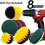 8 Pieces Drill Brush Attachment Set - Mikikin Scrub Brush Power Scrubber Drill Brush Kit Scouring Pad All Purpose Cleaning Kit for Bathroom, Toilet, Grout, Floor, Tub, Shower, Tile, Auto, Kitchen