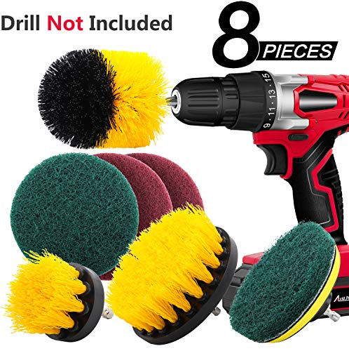 8 Pieces Drill Brush Attachment Set - TUKNE Scrub Brush Power Scrubber Drill Brush Kit Scouring Pad All Purpose Cleaning Kit for Bathroom, Toilet, Grout, Floor, Tub, Shower, Tile, Auto, Sinks, Kitchen