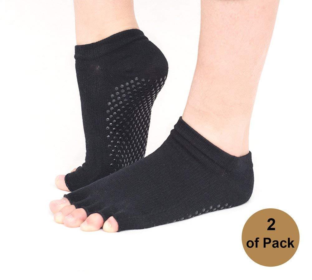 Xinfang 2 pares de calcetines de yoga sin dedos/Puntera ...