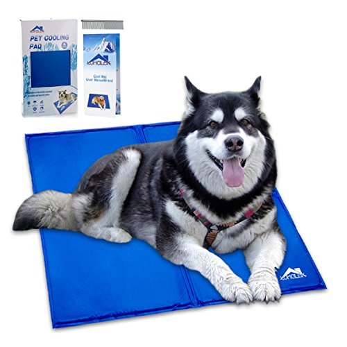 Whalek Pet Cooling Mat Pet Cooling Pad - Dog Self Cooling Mat Pad for Kenn els - Crates and Beds for XL Dogs 37X31.5 Large Blue - with Pet Comb