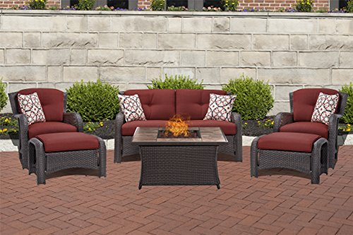 Hanover STRATH6PCFP-RED-TN 6 Piece Strathmere Lounge Set in Crimson Red with Fire Pit Table Review