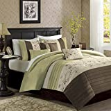 Madison Park Serene Duvet Cover Full/Queen Size - Green, Embroidered Duvet Cover Set – 6 Piece – Faux Silk Light Weight Bed Comforter Covers