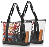 2 Large Clear Vinyl Tote Bags Stadium Approved Shoulder Handbag Shopping Work