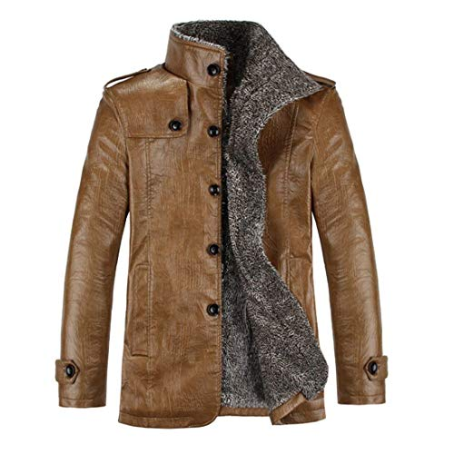 Jacket Huixin Collar Stand Peacoat Winter Jacket Sleeve Coat Leather Vintage Slim Shoulder 3 Long Faux Fit in 4 Khaki with Coat Leather Length Leather Biker Apparel Duffle Men's TTraqSA