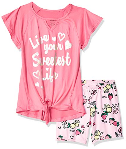 One Step Up Girls' Big Soft Knit Top and Short Set, Sweet Life Pink, ()